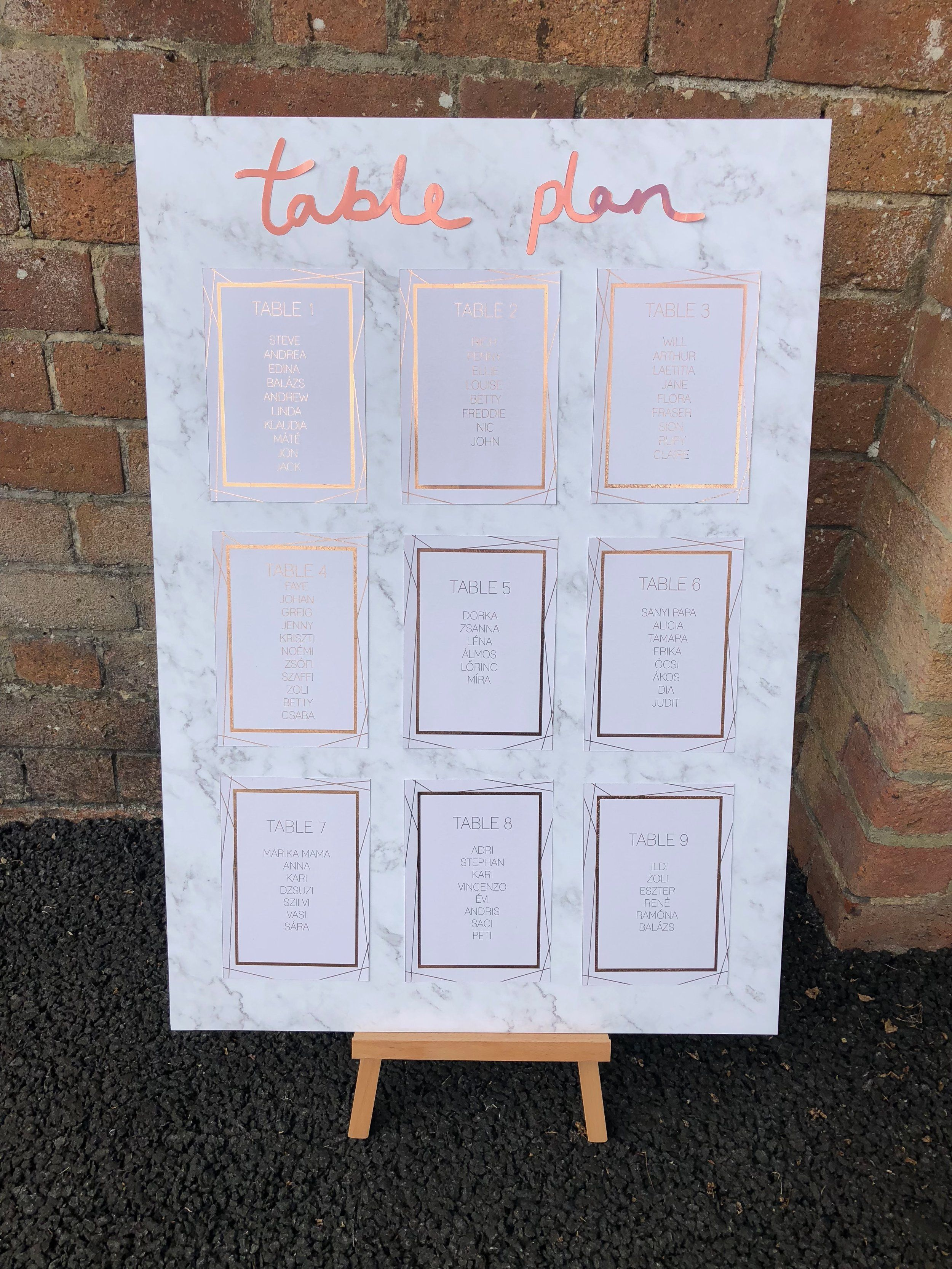 Marble And Rose Gold Table Plan Perfect For Modern Weddings With An Industrial Stylish Edge Wedding Rose Gold Theme Wedding Table Plan Modern Wedding Theme