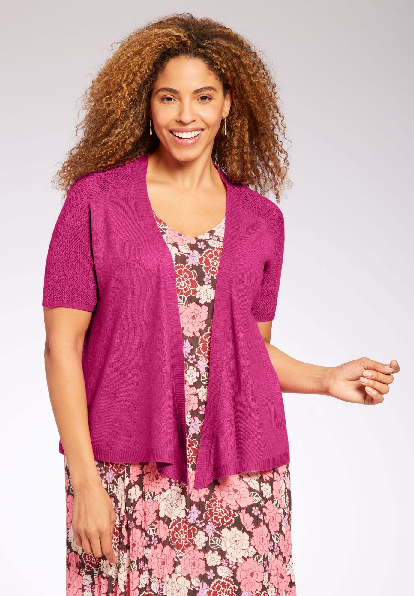 Effortless comfort is yours in this plus size sweater with breezy ...