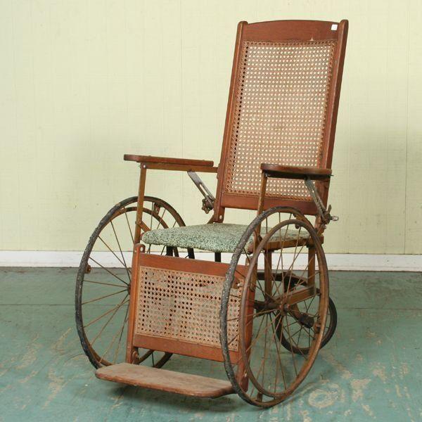 1192: Circa 1900 boardwalk/wheelchair, solid oak, cane on | My Life ...