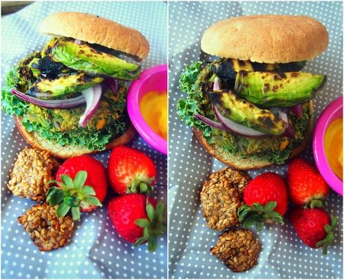 veggie burgers with grilled avocados