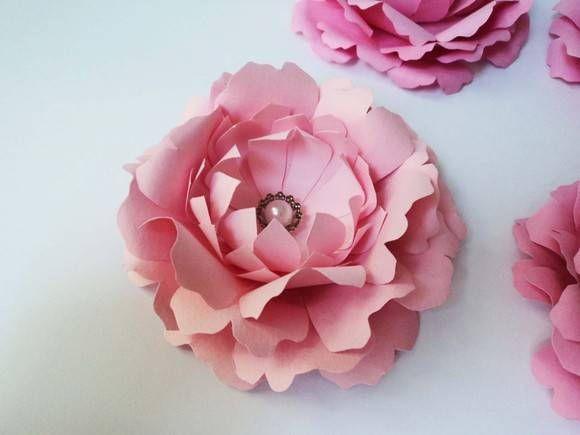 kit 6un - peônia / flor de papel