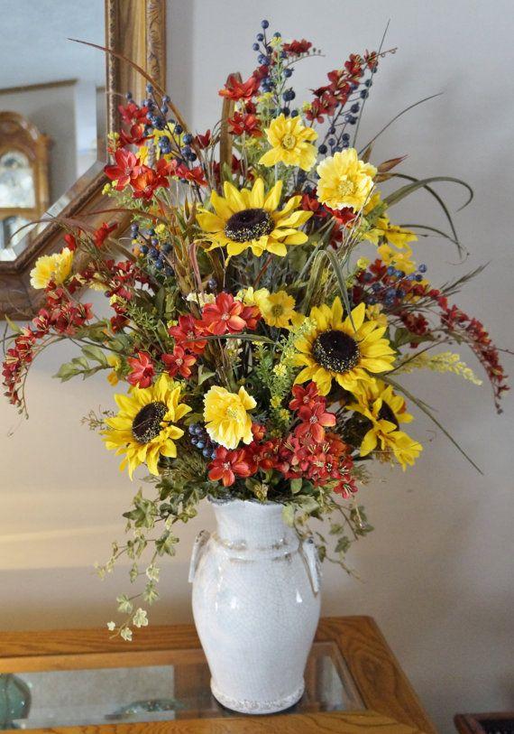 Home Decor Silk Floral Arrangement Floral By BrandyByDesignLtd, $120.00