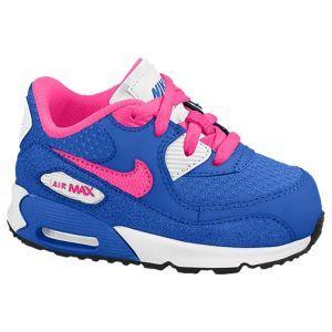 Nike Air Max 90 - Girls' Toddler - White/Hyper Cobalt/White/