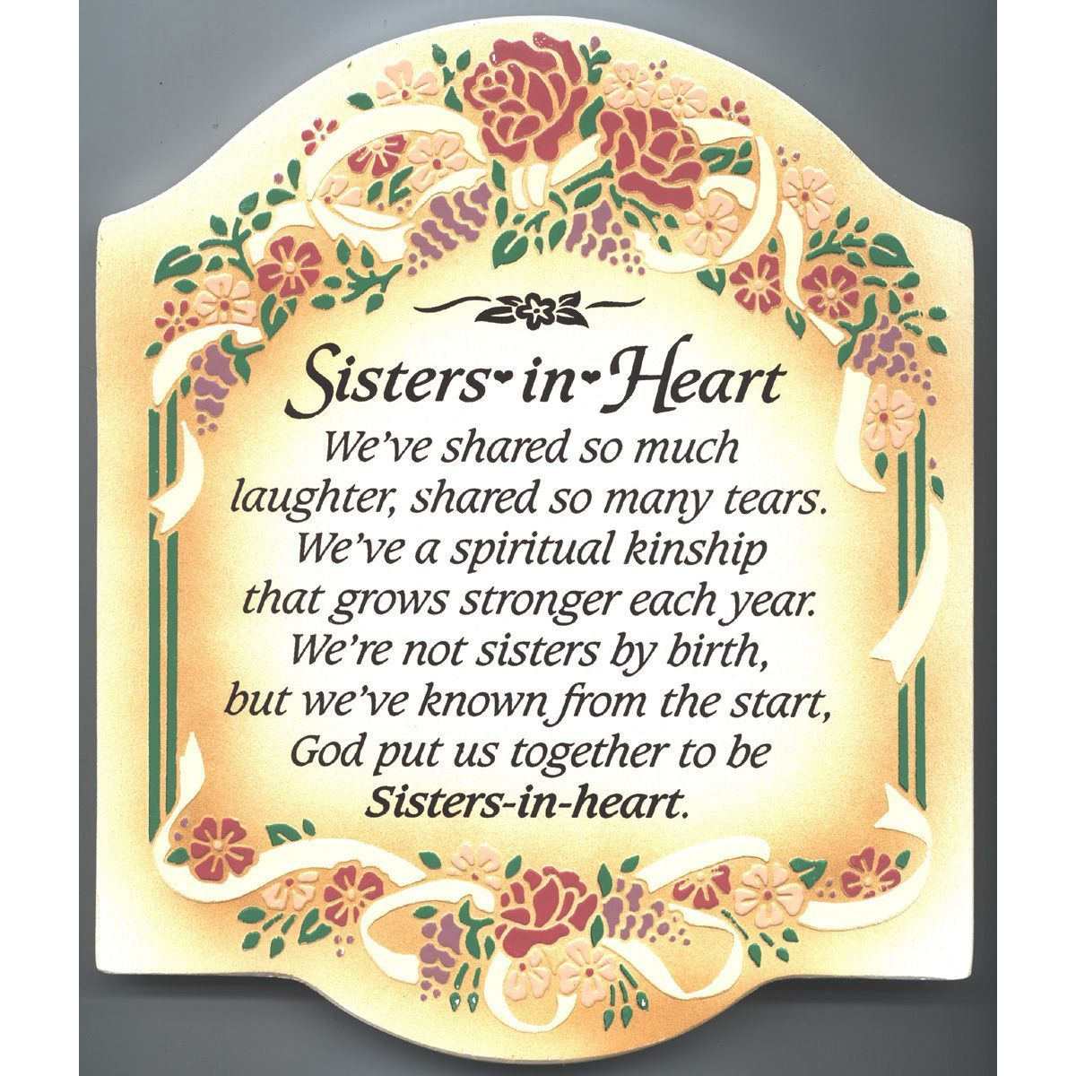 Dexsa Sisters In Heart Embossed Wood Plaque with Easel | Heart ...