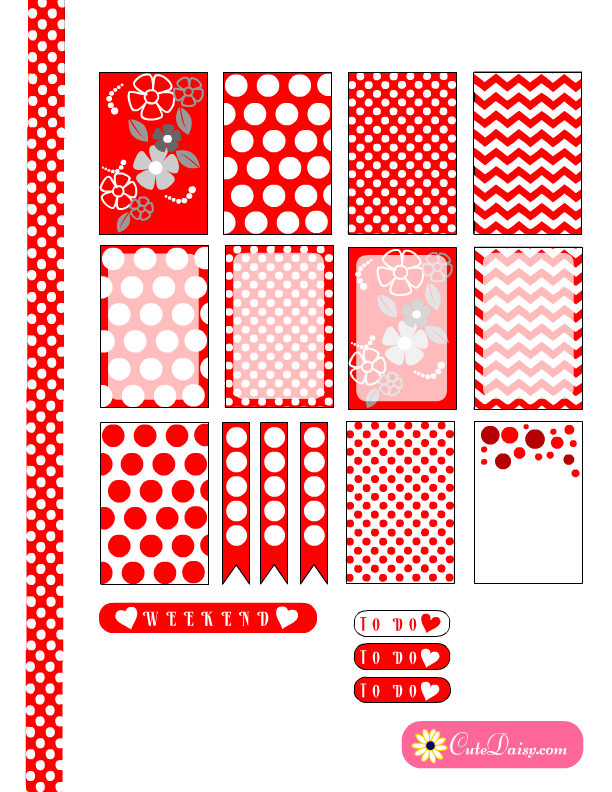 Happy Planner Calendar Printables : Free printable red and white polka dot happy planner