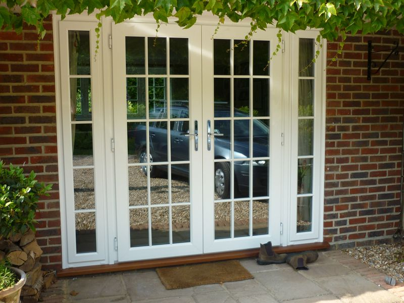 french door on patio with side panels stucco house - Google Search ...