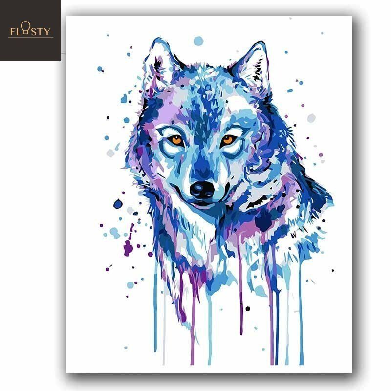 Paint By Numbers Watercolor Wolf In 2020 Watercolor Wolf Art