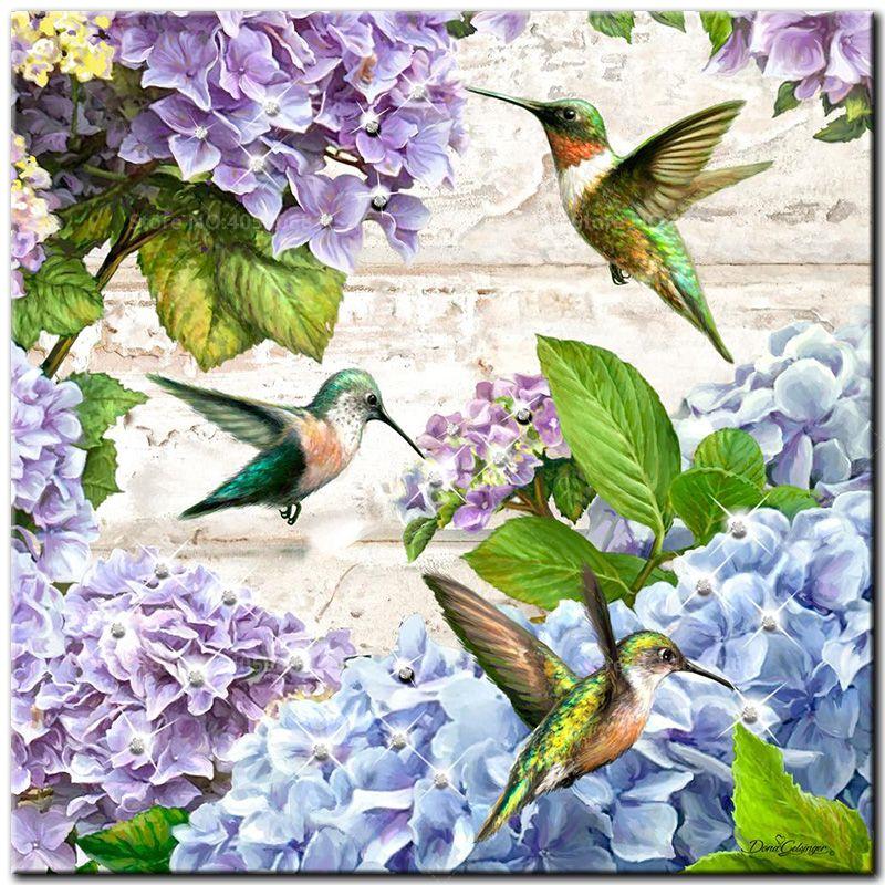5D Diamond Painting Full Drill Cross Stitch Kits Hummingbirds Embroidery New