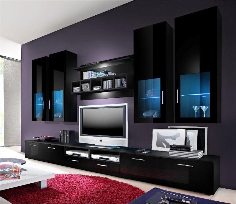 Tv Wall Units Black Gloss Collection Black Furniture Living Room Wall Unit Tv Wall Unit