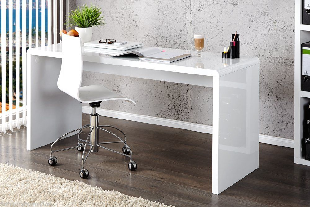 New Enzo White High Gloss Computer Home Executive Study Office Workstation Desk Ebay White Desk Glass White Gloss Office Desk White Desk With Glass Top