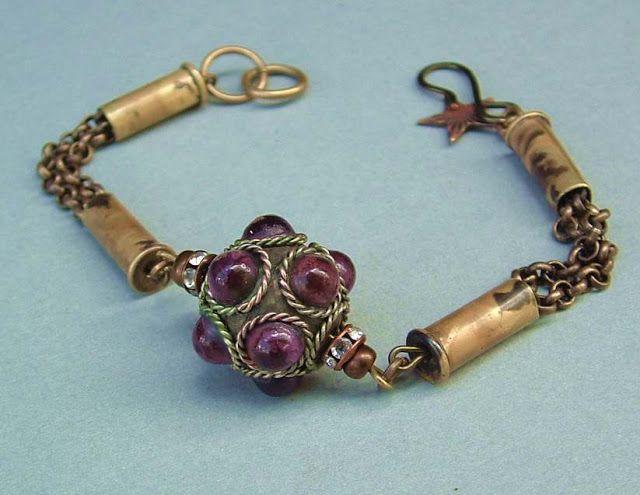 Brass bullet casings, amethyst focal bead bracelet
