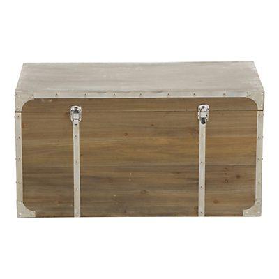 Malle de rangement bois et métal 81x41x42,5cm | Déco