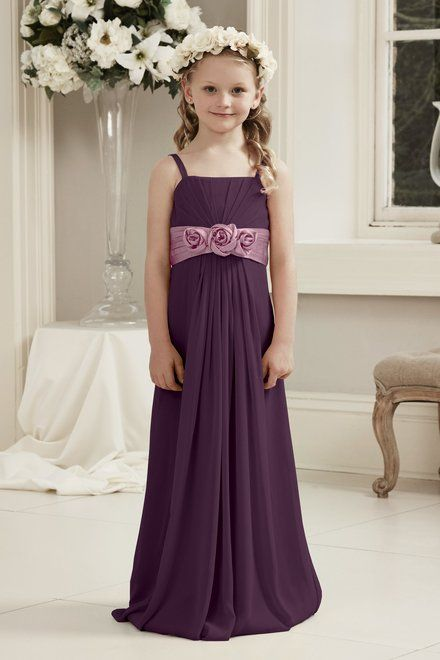 5fc3725d8457 Alexia Designs style 48: Bella Chiffon gown with pleated charmeuse  waistband and flower detail (Junior version of adult style 4106).