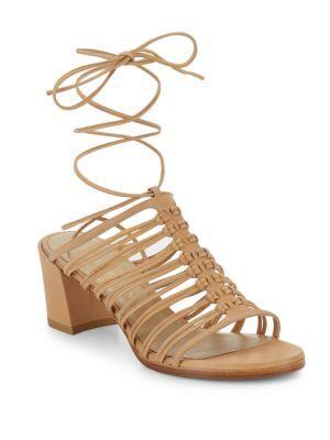 STUART WEITZMAN Knots Nice Lace-Up Leather Sandals. #stuartweitzman #shoes #flats
