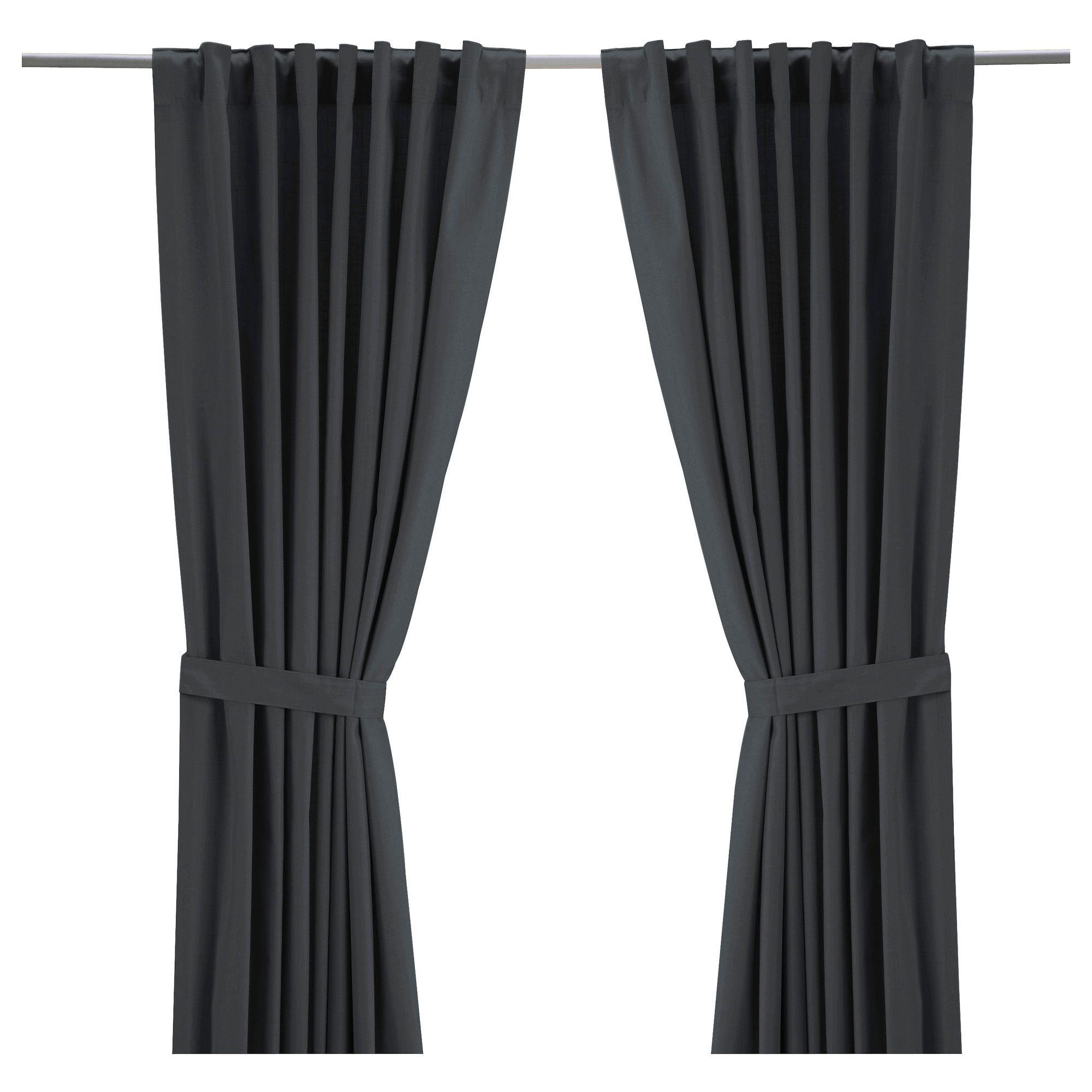 ritva paire de rideaux avec embrasse gris ikea decoration pinterest rideaux et ikea. Black Bedroom Furniture Sets. Home Design Ideas