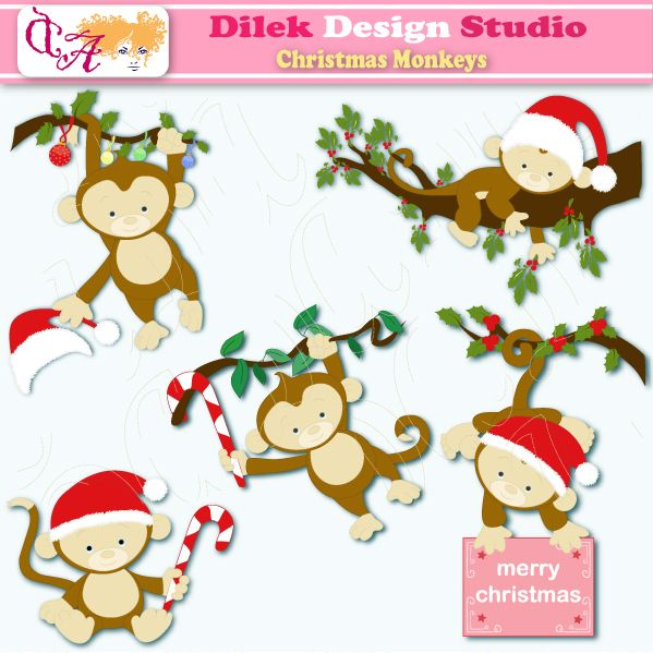 Cute Dilek Christmas Monkeys clipart perfect for your craft project, scrapbooking, invitation, web design, paper product, design card and everything else.