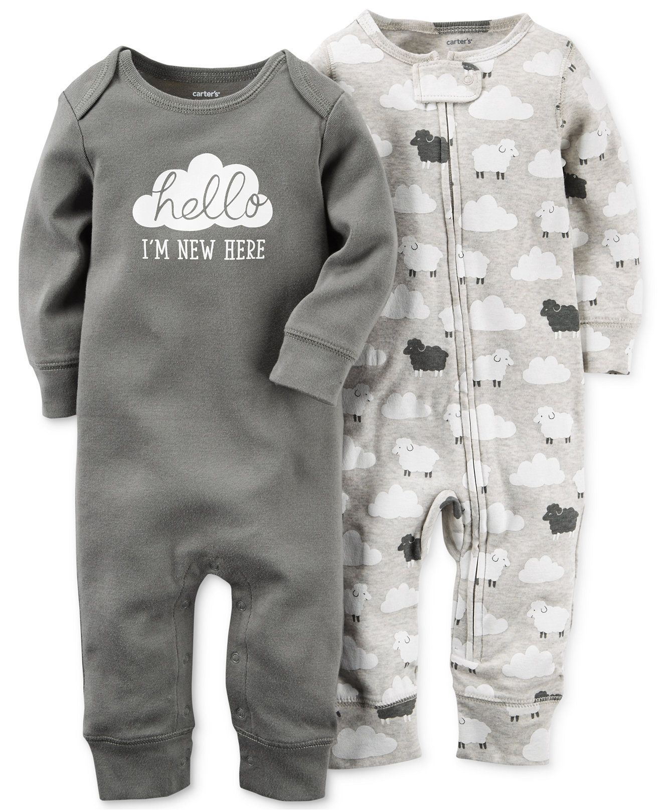 Carter s Baby Boys or Baby Girls 2 Pack Little Lamb Coveralls