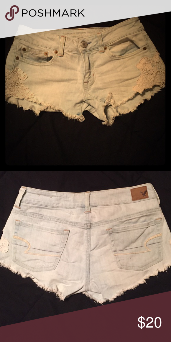 Denim shorts Light denim shorts with white lace detail on sides. American eagle size 0. Good condition. Selling for $15 on mercari American Eagle Outfitters Shorts Jean Shorts