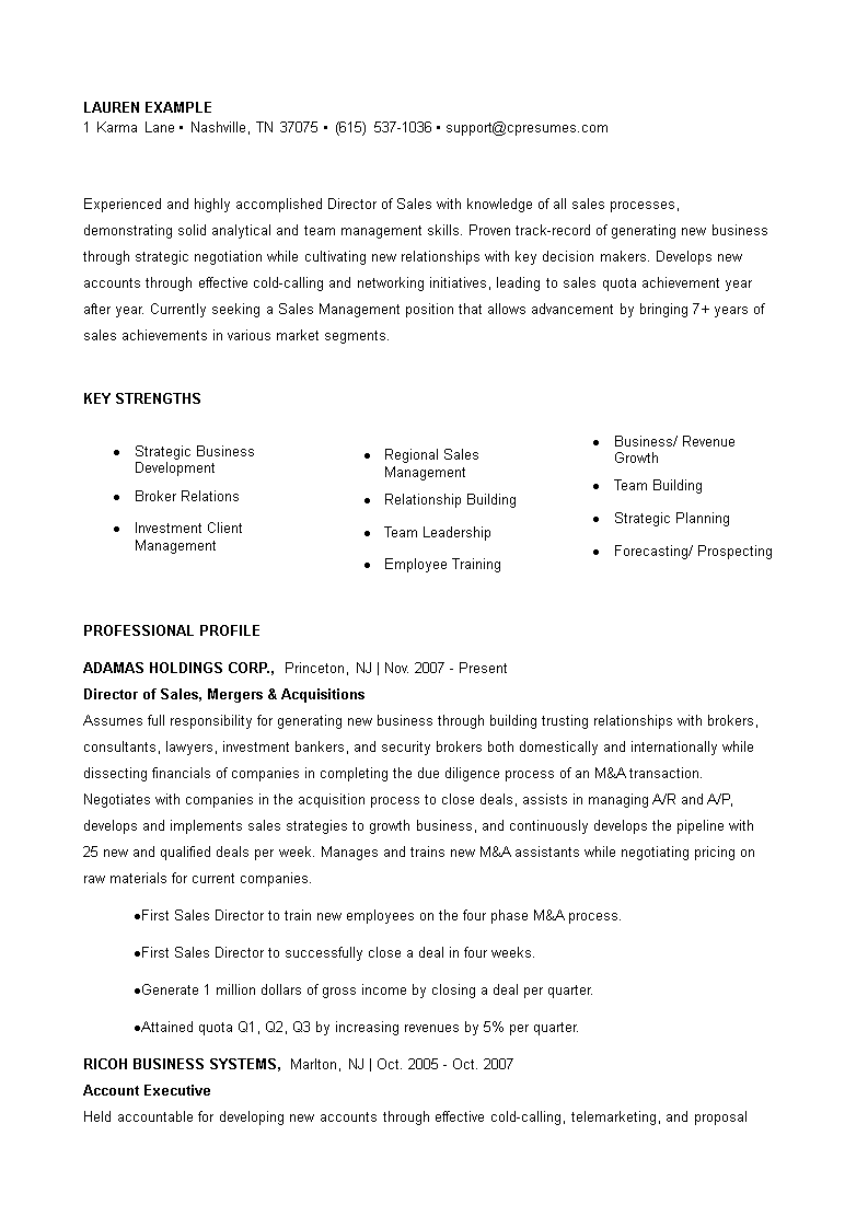 sales director resume  how to create a sales director