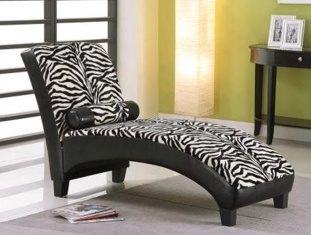 96139 Anna Zebra Fabric u0026 Black Bycast PU Lounge Chaise-Lounge Chaise w/Pillow 63 x 26 x : zebra chaise lounge - Sectionals, Sofas & Couches