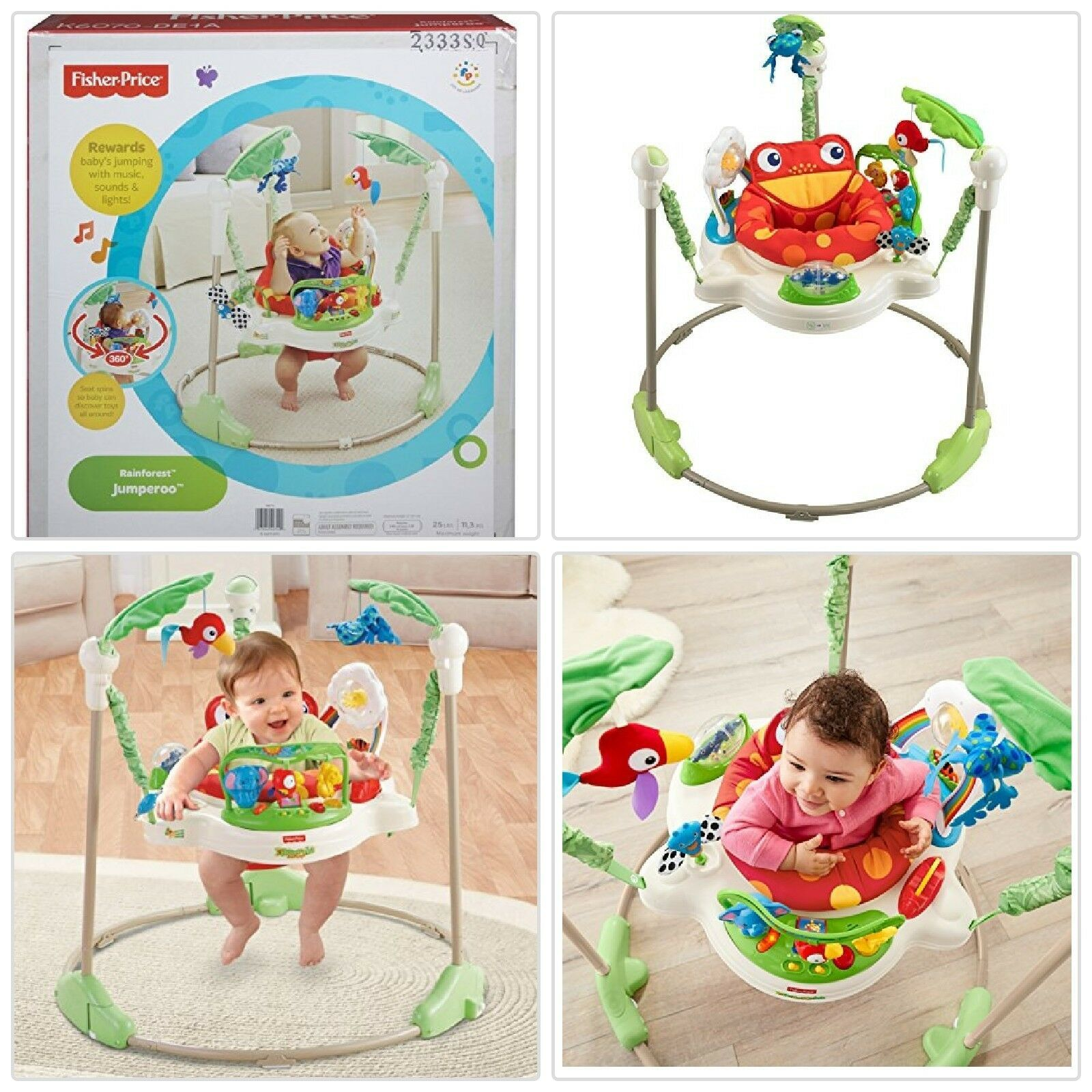 New Fisher Price Rainforest Jumperoo Baby Jumping Exercisers Toddlers Bouncer Baby Activity Jumper Fisher Price Rainforest Jumperoo Activity Jumper