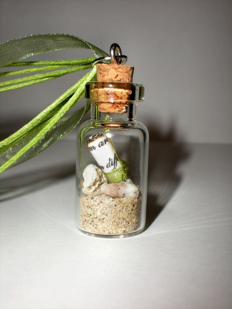 261ba86bab79 Mini message in a glass bottle necklace with cork   sand and sea shells  from…
