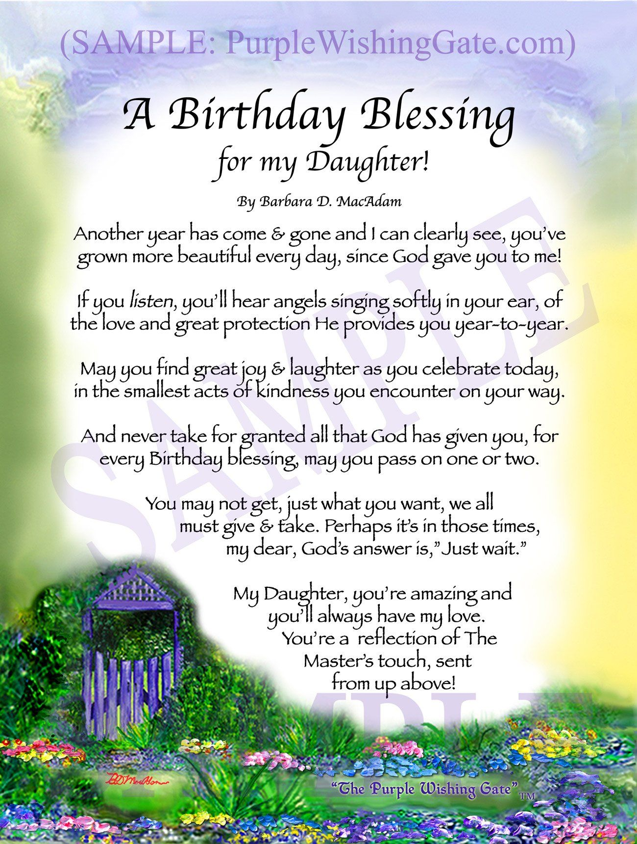 daughters birthday blessing framed personalized gift purplewishinggatecom