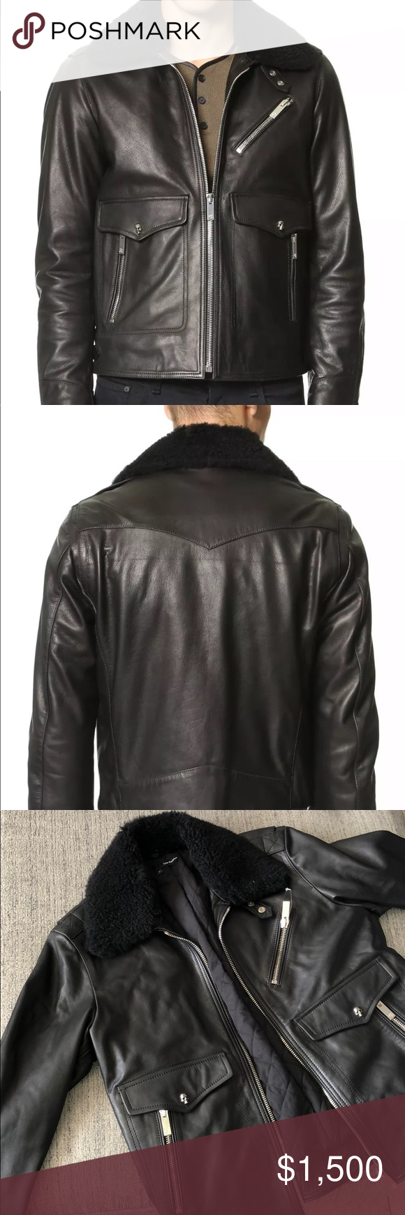 The Kooples Leather Jacket with Shearling M Contemporary