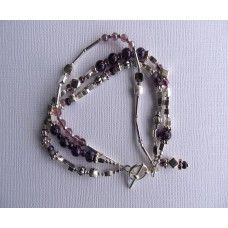 """""""Three Purple Strand"""": Three Strands of silver and purple beads.   Silver toggle   7"""" or 8"""" length   $62"""