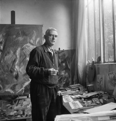 Jean Bazaine in his studio
