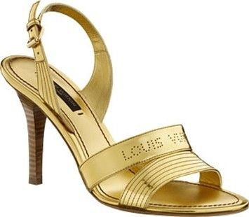 e3da7bbedf4b Gold · Louis Vuitton Metallic Leather With Perforated Logo Gold Sandals.