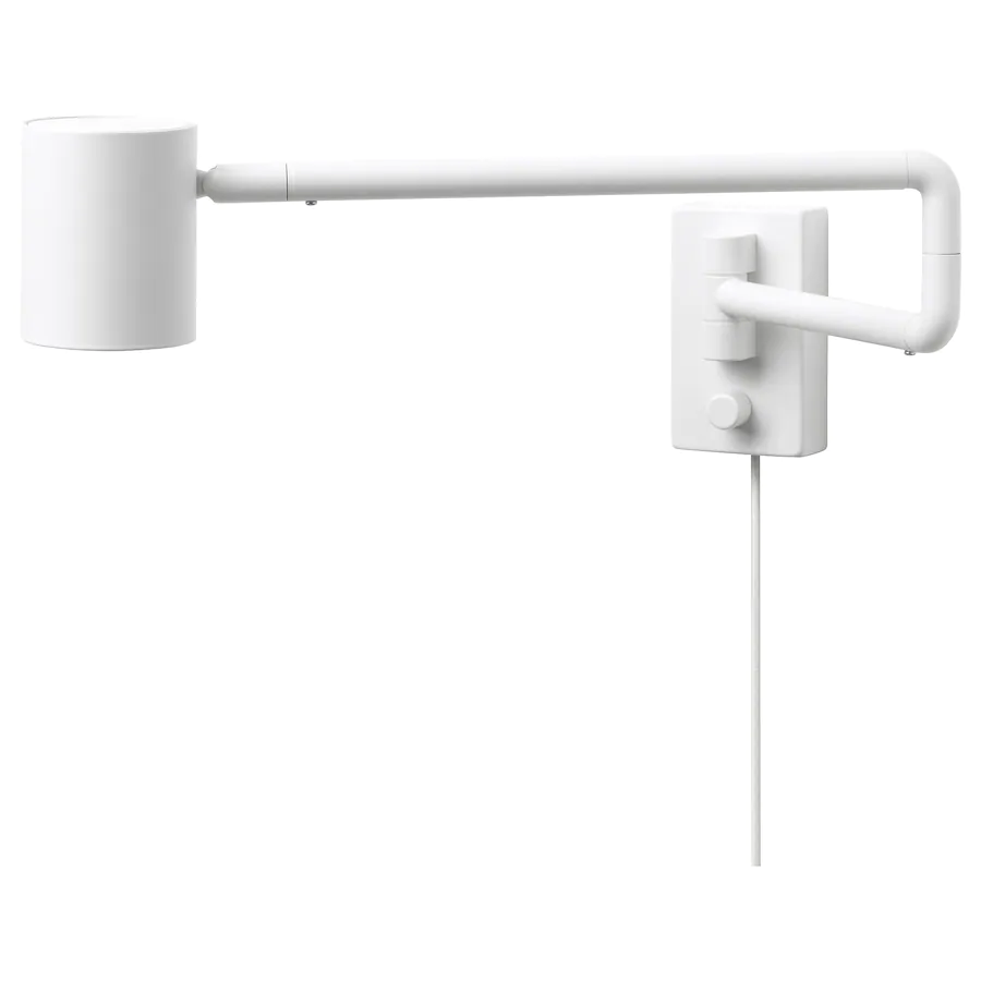 Nymane Wall Lamp With Swing Arm Led Bulb White Ikea In 2020 Wall Lamp Lamp Led Wall Lamp