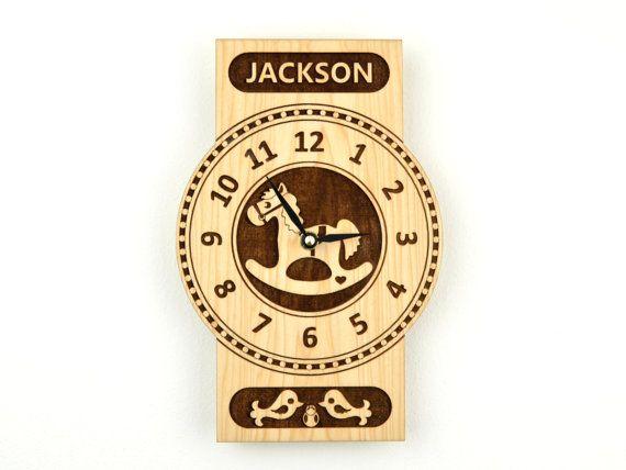 Personalized Wooden Clock Rocking Horse Clock by KeepsakeToys