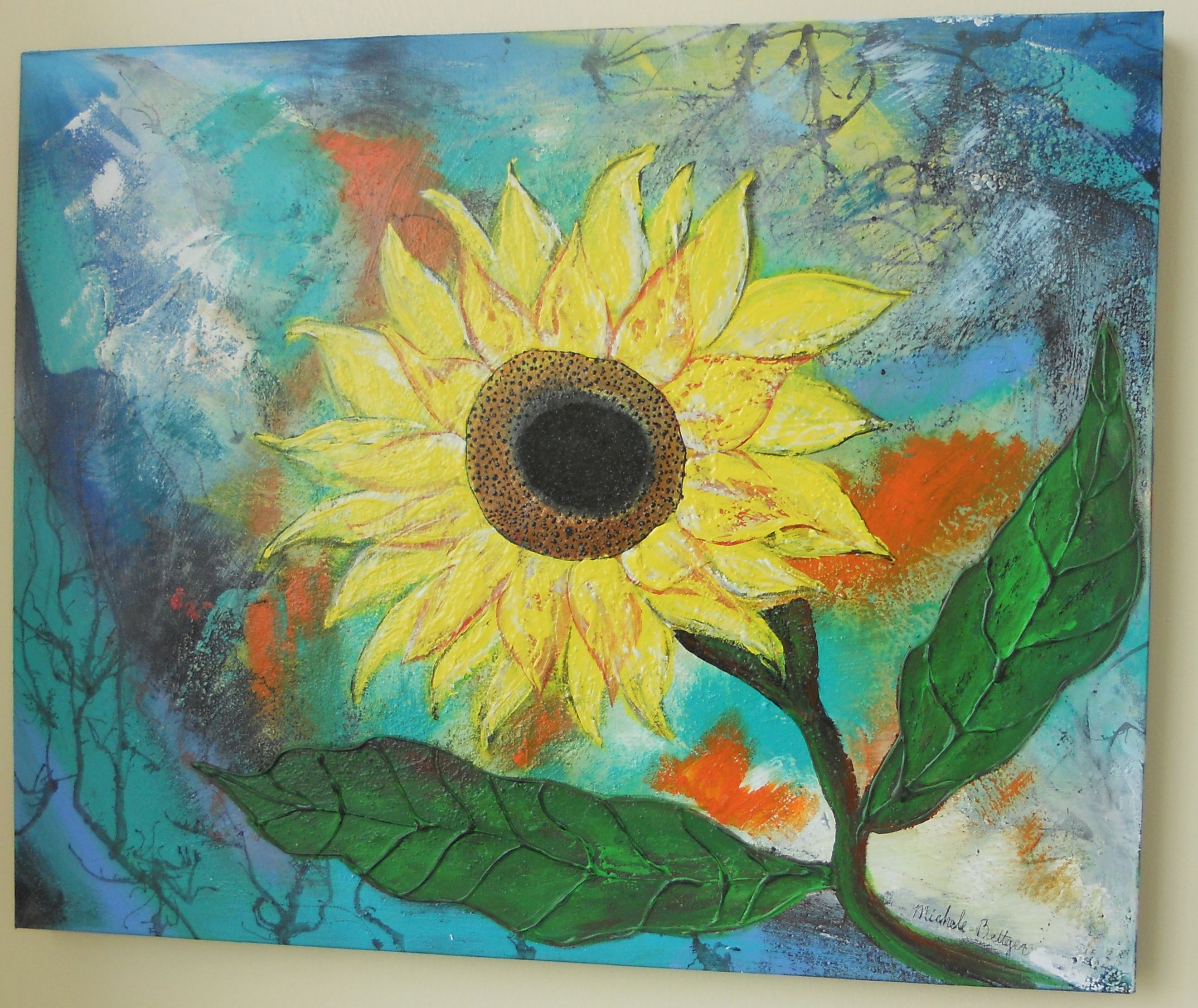 Sun flowers are so much fun! Allot of my art is mixed media. This ...