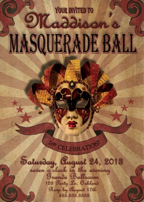 masquerade ball invitation carnival party sweet 16 by bowersink
