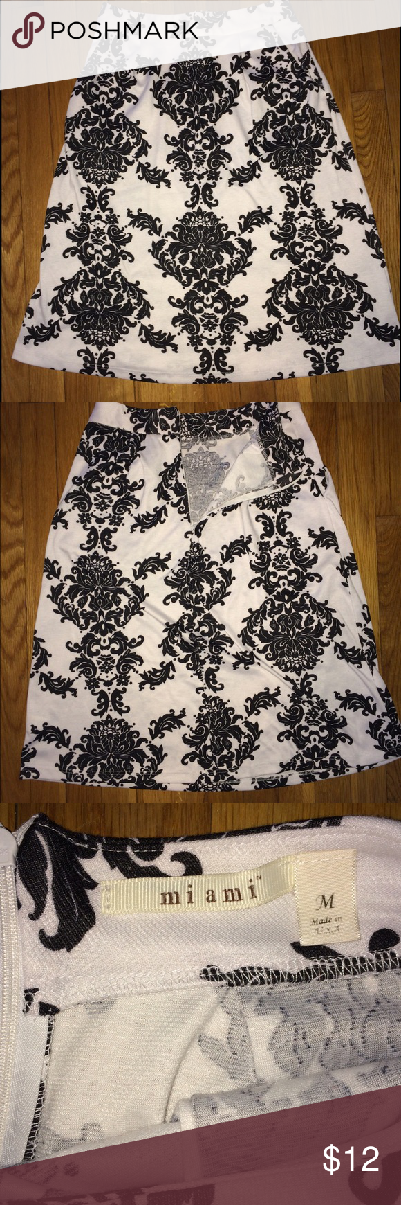 Beautiful black and White skirt! Beautiful condition, black and white pattern skirt. Great for a night out or a casual work day! Miami Skirts