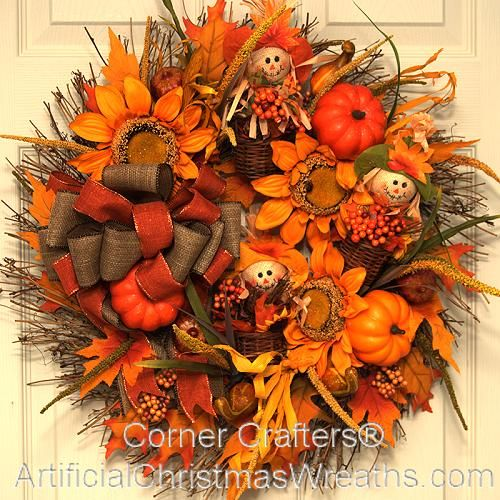 Fall Burlap Scarecrow Wreath #scarecrowwreath