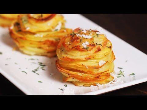 Sie brät Kartoffeln in zwei Muffinblechen, das Ergebnis schmeckt himmlisch #kartoffelrosenrezept