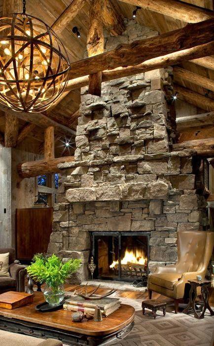 Icono Interiorismo Al Calor Del Fuego De Una Chimenea De Piedra Chimeneas Chimeneas Exteriores Sala De Estar Rustica