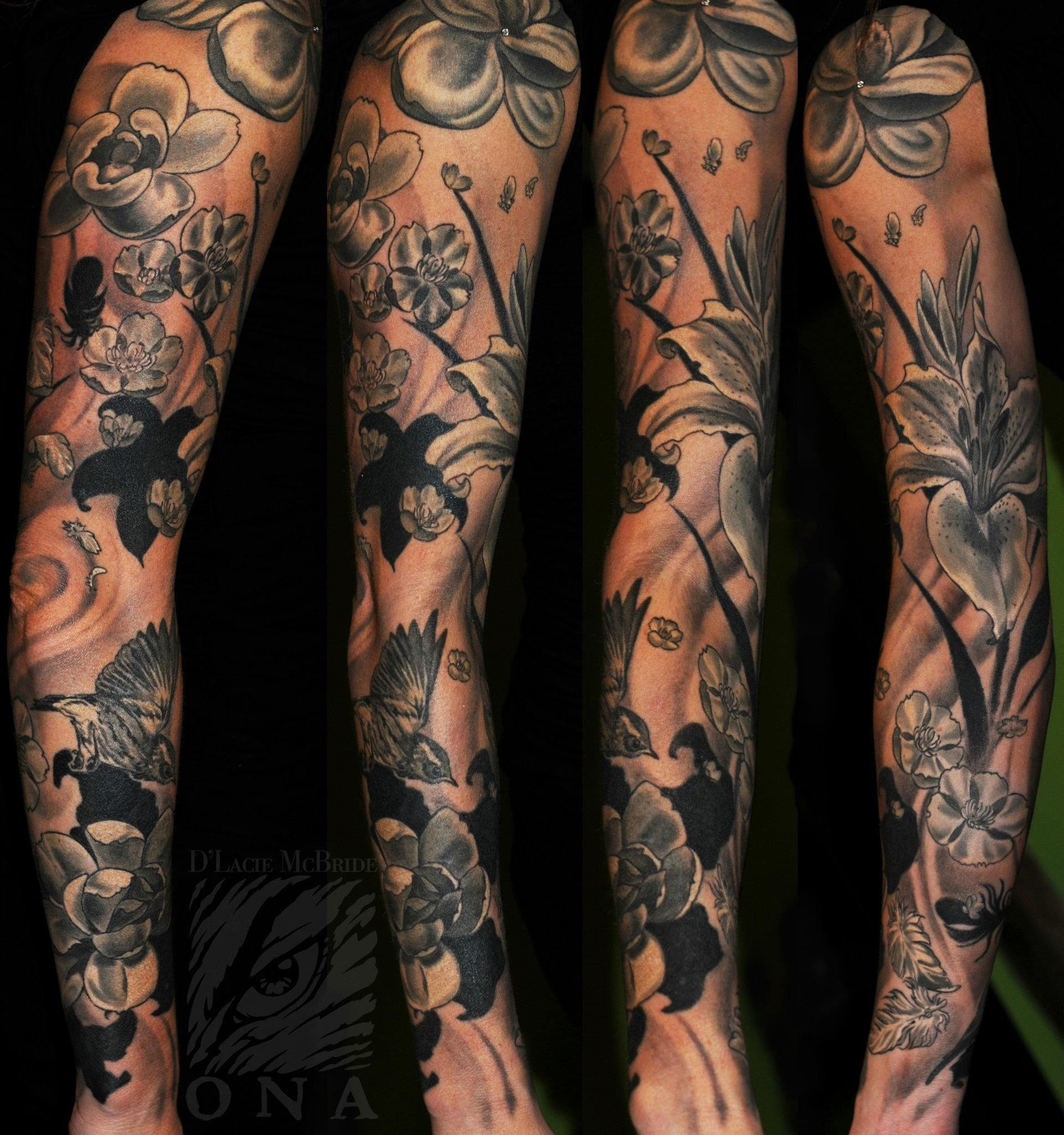 Magnolia Black And Grey Sleeve Tattoo By D Lacie Mcbride Optic Nerve Arts Portland Or Black Sleeve Tattoo Sleeve Tattoos Black And Grey Tattoos