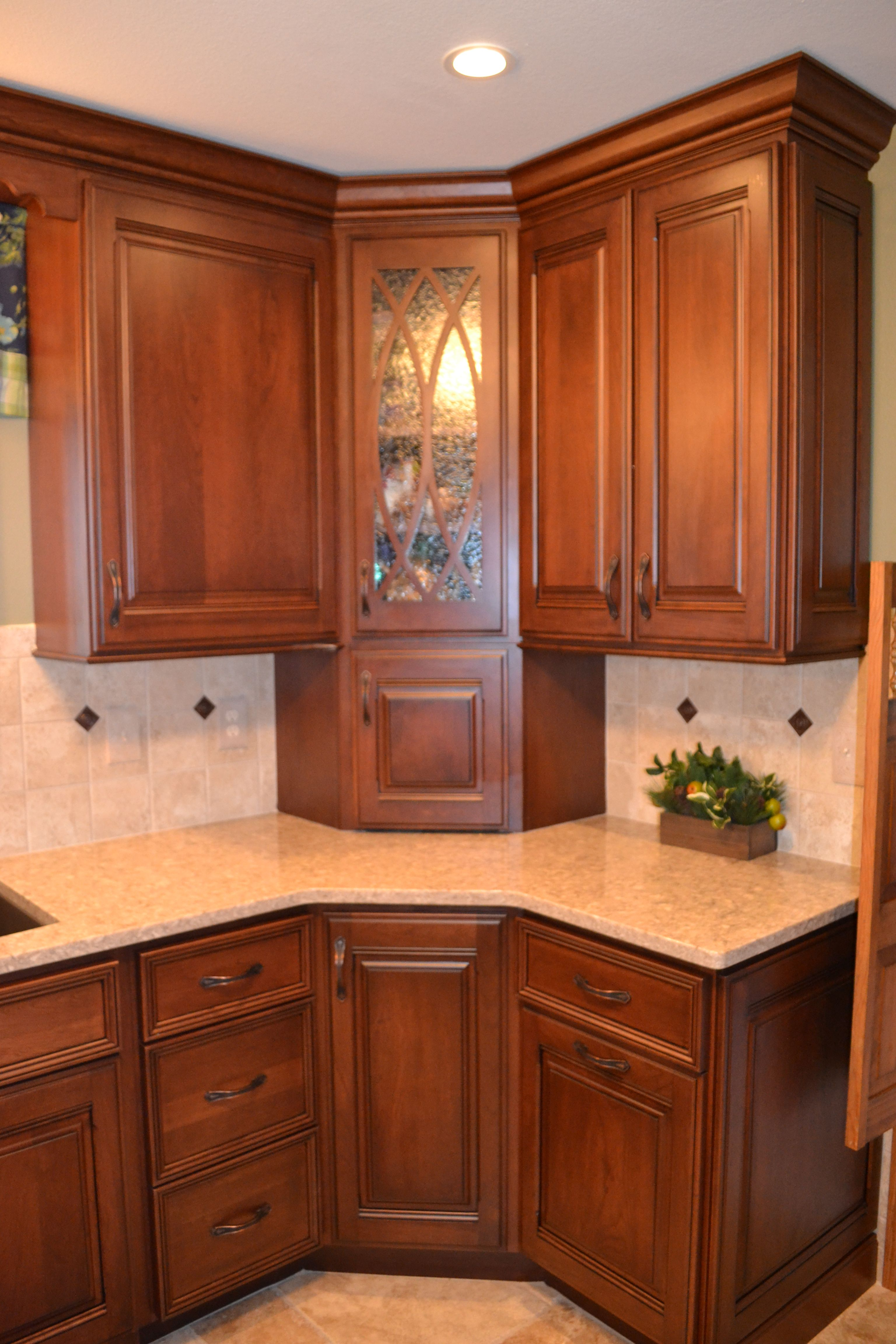 Changing Up The Corner Cabinetry Corner Cabinets Glass Inlay Cabinets Corner Kitchen Cabinet Kitchen Room Design