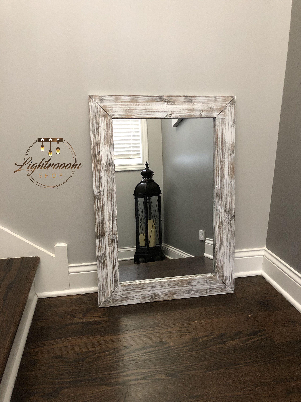 WHITEWASH Mirror, Wood Frame Mirror, Rustic Wood Mirror ...