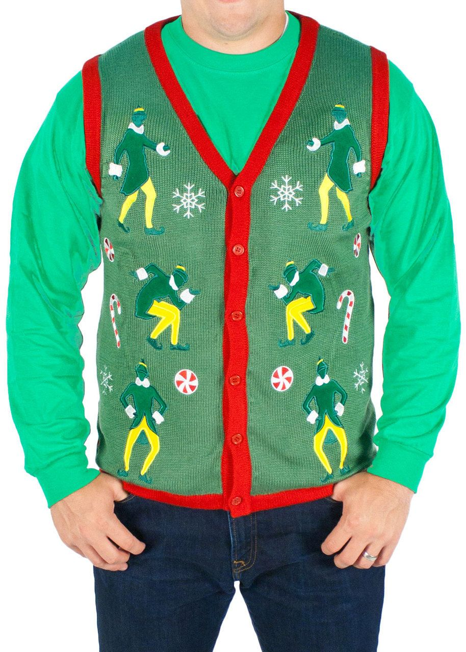 Mens Elf The Movie Lighted Buddy The Elf Sweater Vest In Green Elf