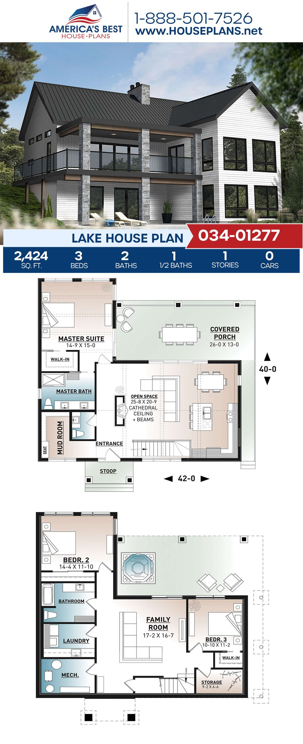 House Plan 034 01277 Lake Front Plan 2 424 Square Feet 3 Bedrooms 2 5 Bathrooms Lake House Plans Beach House Plans Porch House Plans