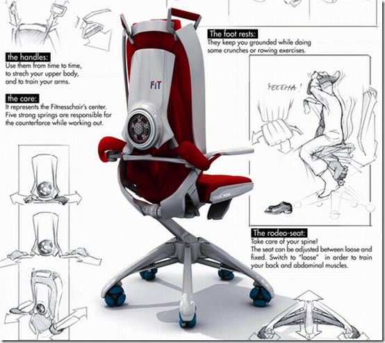 Fitwork fitness chair is a sporty office chair inspired by the shape of the