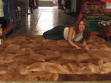 brown alpaca fur carpet with rhombus designs - Carpets With Designs