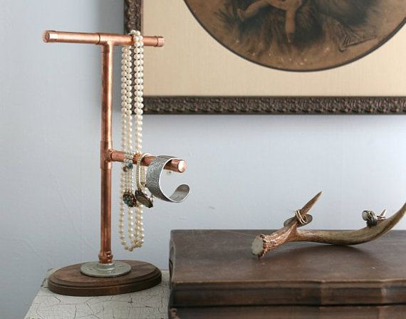 Copper Pipe Jewelry Display Stand Organizer Industrial Modern Dorm