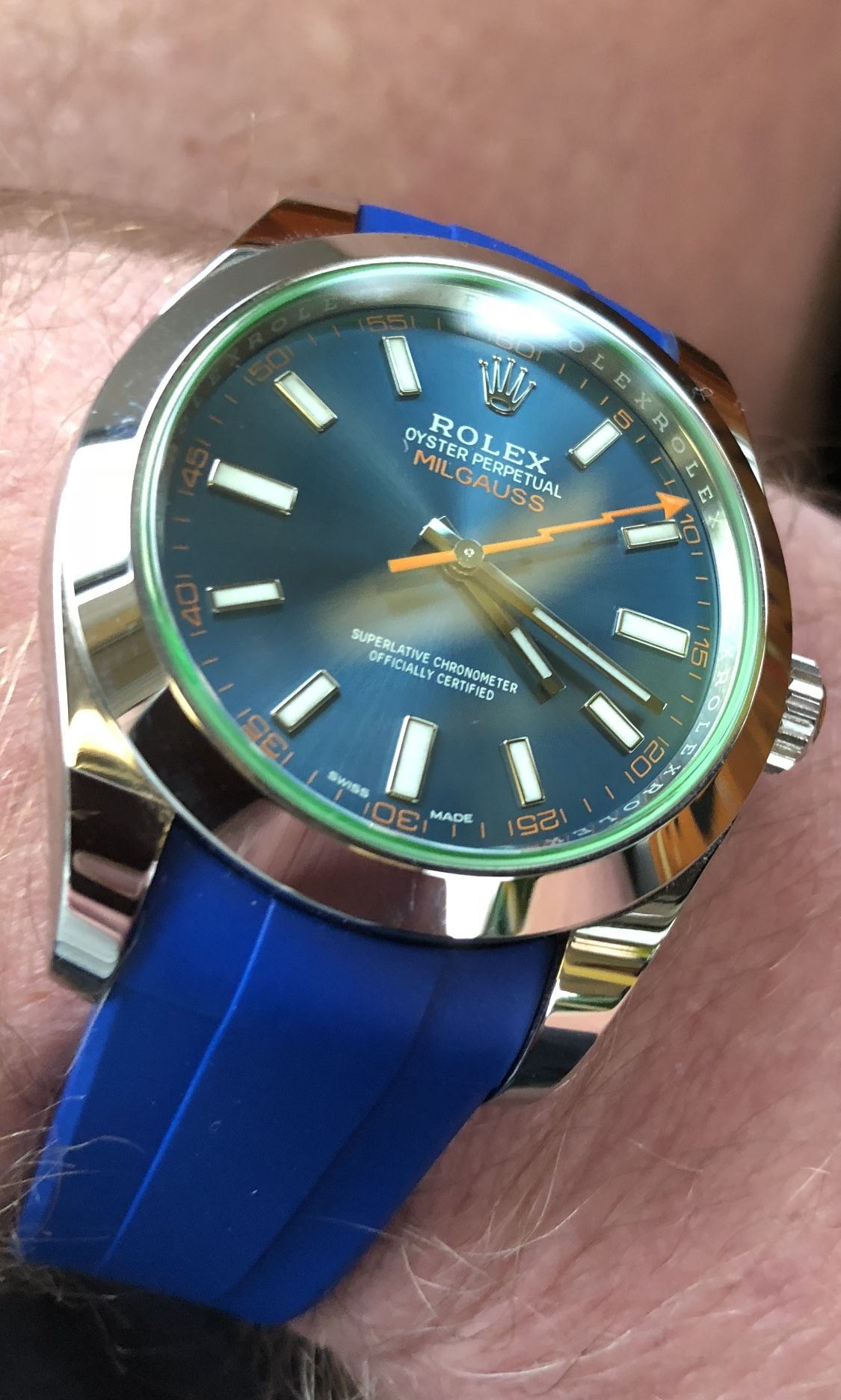 Rolex Milgauss Z Blue 40mm With Rubber B Pacific Blue