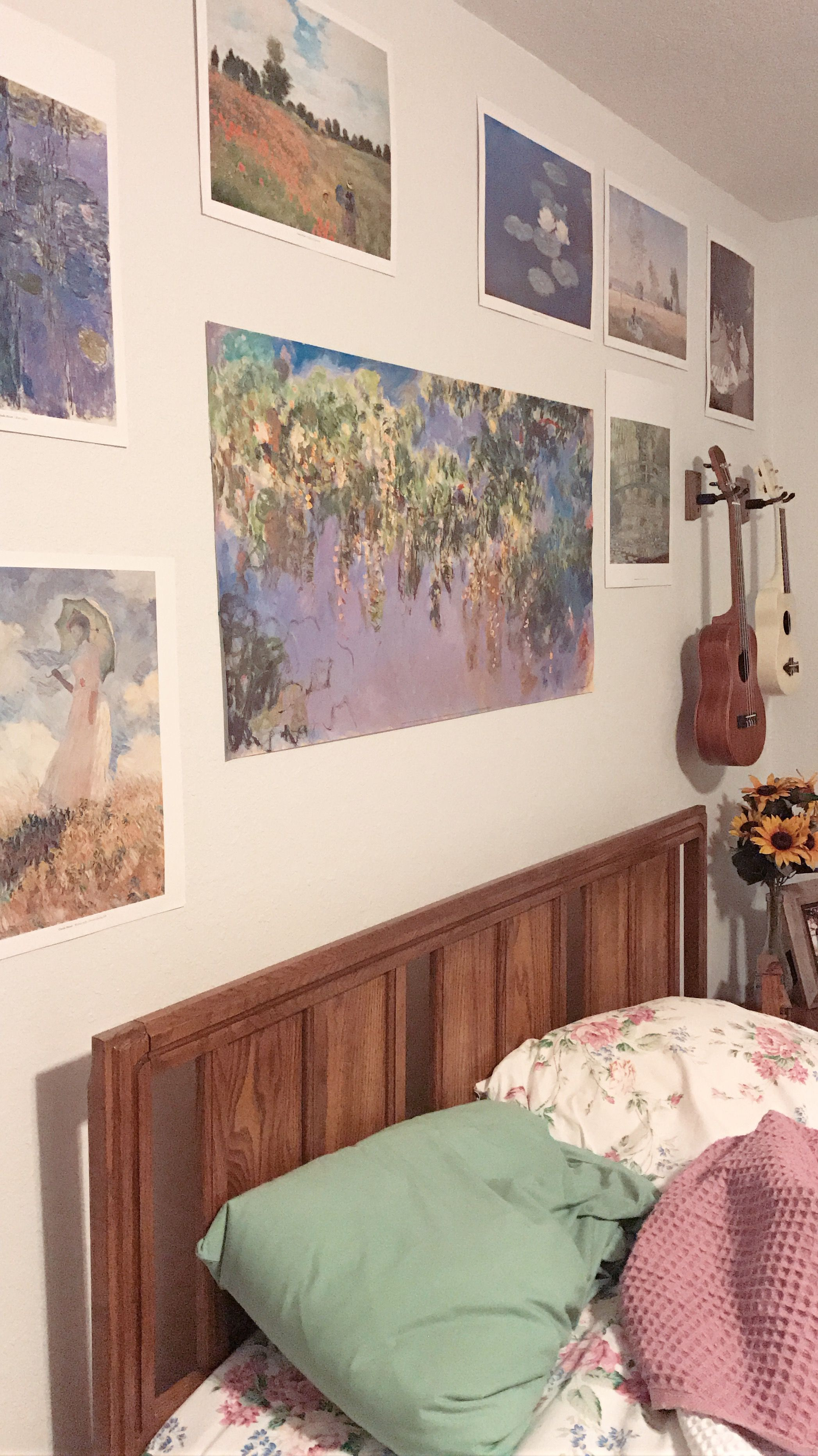 Art Hoe Room With Monet Poster Paintings Aesthetic Bedroom Aesthetic Rooms Creative Bedroom