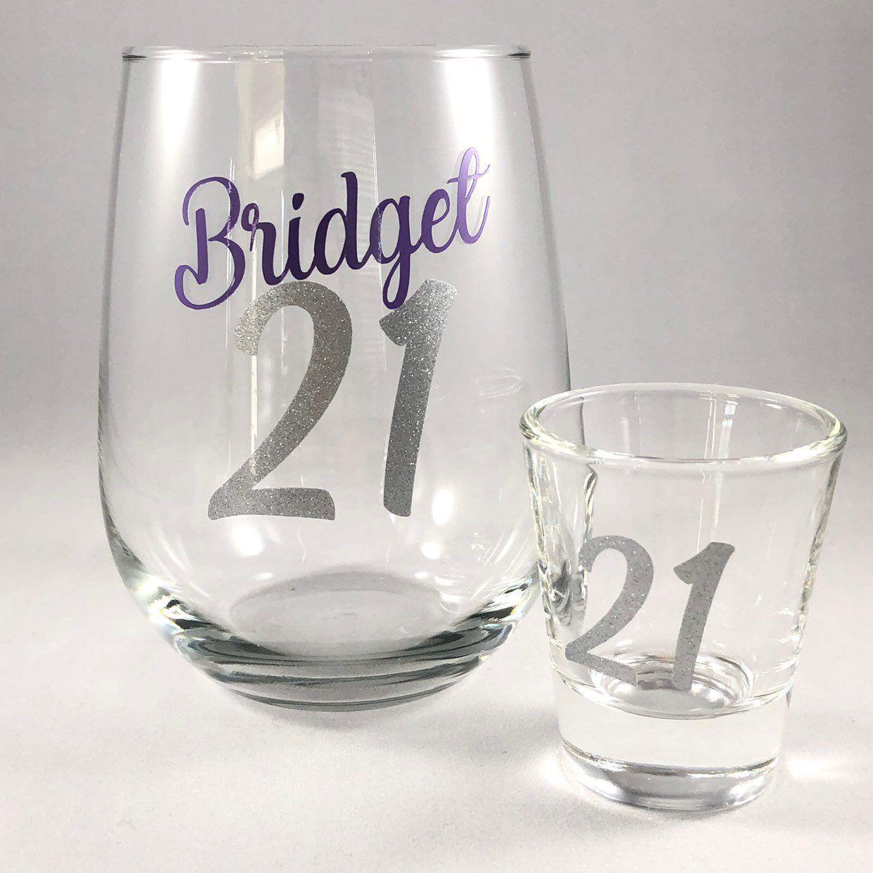 21st Birthday Wine Glass Shot Glass 21st Birthday Gift Finally 21